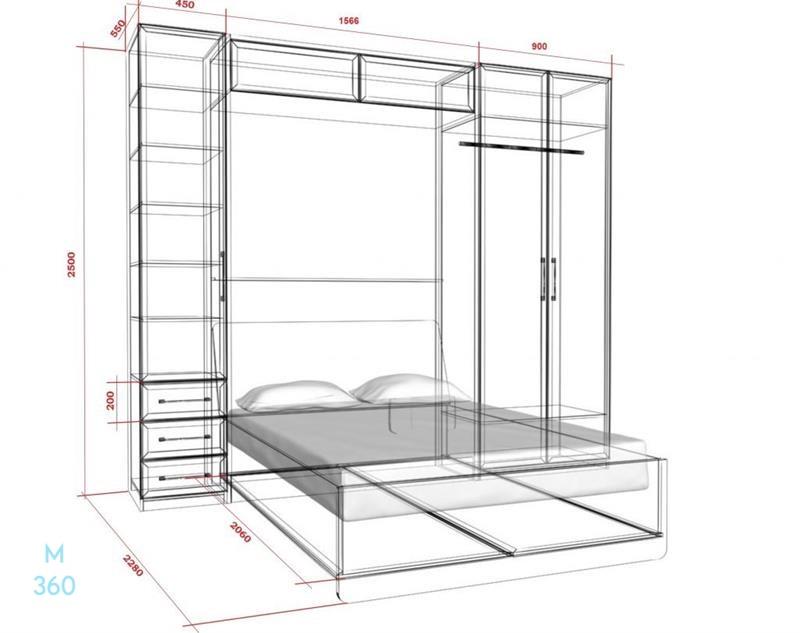 Двуспальный шкаф кровать на заказ Арт 4